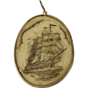 Oval Scrimshaw Pendant with 14kt Yellow Gold Setting