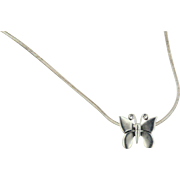 Sterling Silver .925 Snake Link Chain with Butterfly Slide Pendant