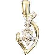 14kt Yellow Gold Swirl Pendant with Diamond Accented Shooting Star