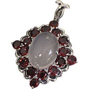10kt White Gold Diamond Shape Pendant with Large Cabochon White Stone, Round pink Stones, and .2CTW Diamonds