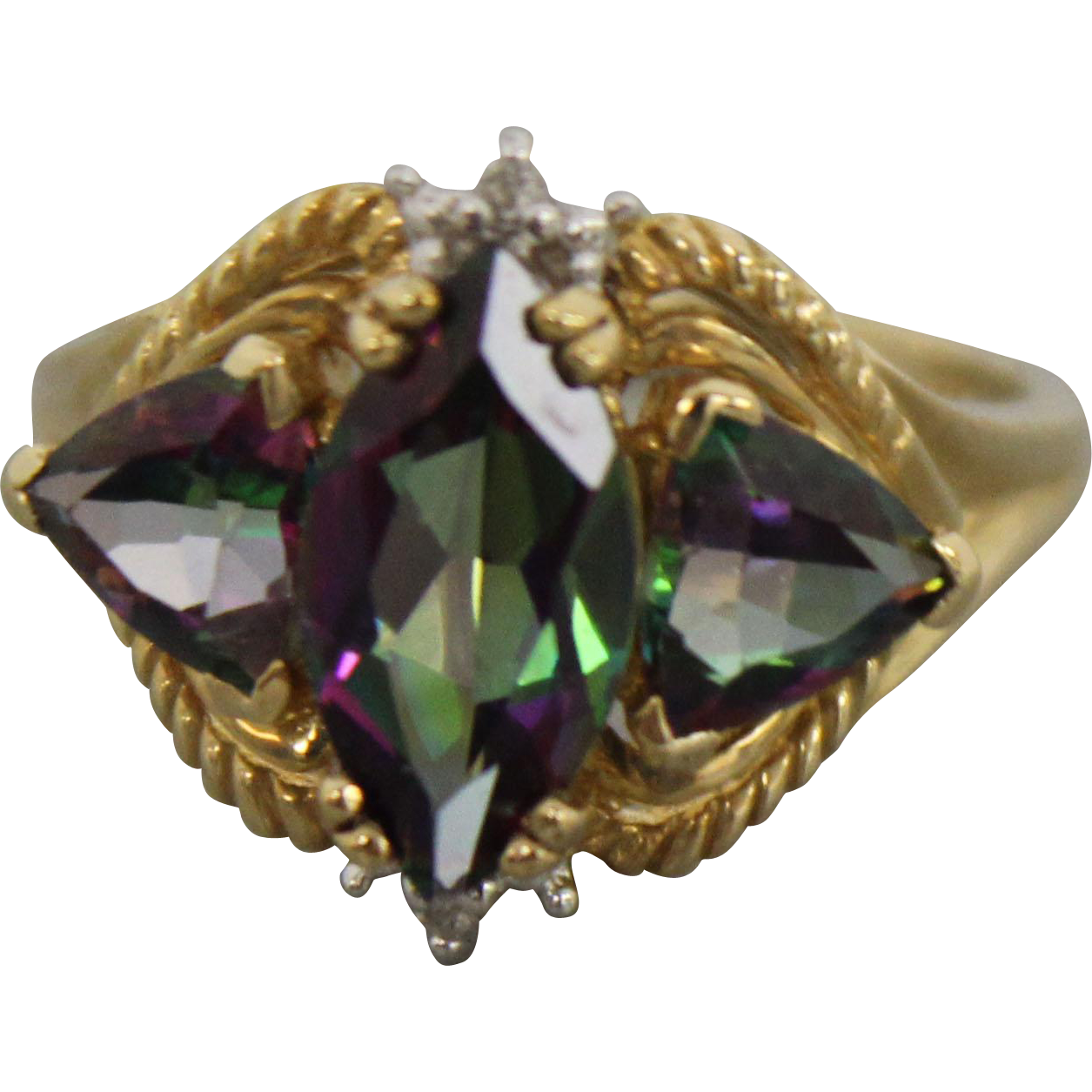 10k yellow gold ring with marquise mystic topaz diamonds