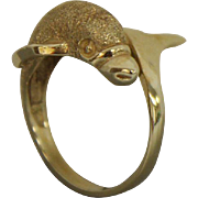14k Yellow Gold Dolphin Ring with Satin Finish - Size 9
