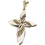 14kt Two Toned Yellow/White Gold Cross Pendant with Clear Stones