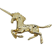 14kt Yellow Gold Unicorn Slide Pendant with Diamond Cut Accents