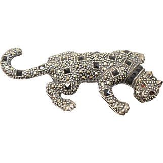 Sterling Silver Jaguar Pendant with Square Onyx and Round Marcasite Stones - 3.8 CTW