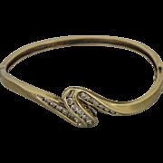 14k Yellow Gold Hinged Bangle With Wave Diamond Design