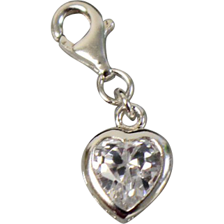 Sterling Silver Heart Shaped Small Charm with White Stone Center