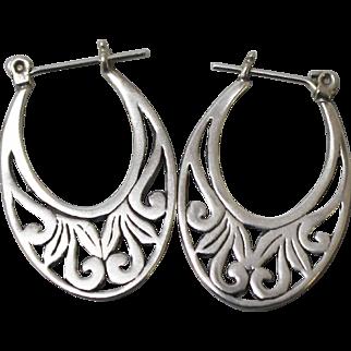 "Sterling Silver Pierced Earrings with 1"" Oval Openwork Design"