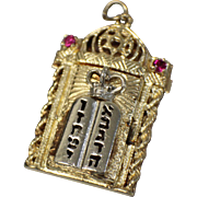 14kt Gold Two Tone Jewish Locket Pendant w/ Star of David & Hebrew Lettering