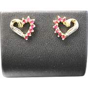 10kt Yellow Gold Heart Stud Earrings with One Diamond and 7 Round Rubies