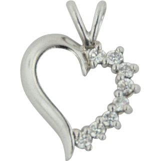Sterling Silver Heart Pendant with CZ's