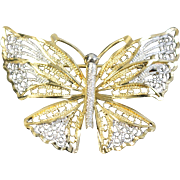 18k Two Tone Ornate Detailed Butterfly Pin Brooch in White  & Yellow Gold