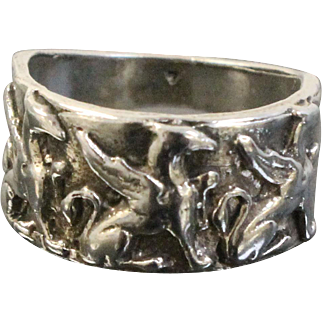 Unique Hand Crafted Sterling Silver Band Ring with 3 Greek Mythology Griffins - JWK Hallmark - Size 6.5