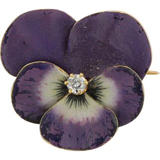 18kt Yellow Gold Purple Enamel Dahlia Pin with .1CTW Diamond