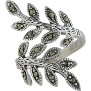 Sterling Silver Bypass Statement Ring with Leaf Design and Marcasites - Size 7 3/4
