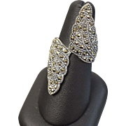Sterling Silver Large Statement Ring with Marcasite Stones - Size 7