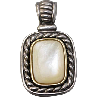 Sterling Silver - 14K Yellow Gold - Mother of Pearl Pendant - GV Hallmark