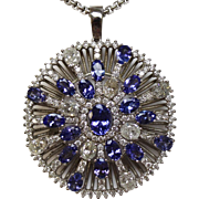 "Stunning 14K White Gold - Violet Tanzanite - Diamond Burst 1 3/4"" Pendant & 17"" Necklace - $29k Appraisal"