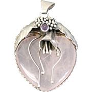 "Pink Quartz Heart 2 1/2"" Pendant Encased in Sterling Silver Flower with Purple Amethyst"