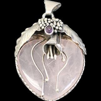 "Pink Quartz Heart 2 1/2"" Pendant Encased in Sterling Silver Flower with Purple Amethyst"