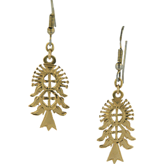 18kt Yellow Gold Kachina Inspired Dangle Earrings