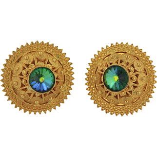 21kt Yellow Gold Disc Earrings with Circle Design and Topaz Stone