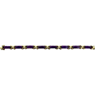 "14K Yellow Gold & Purple Amethyst Tennis/Hugs/Kisses 7"" Bracelet"