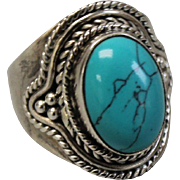 Sterling Silver Turquoise Ring with Cable Design - Size 7.25