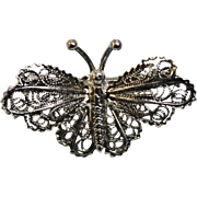 "Beautiful Delicate 1/2"" x 1"" Butterfly Pin with Filigree Wings - 800 Silver Hallmark"