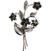 "Nicely Detailed Sterling Silver 925 Bunch of Roses with Leaves 4"" Pin"