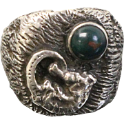 Oscar Caplan Sterling Silver Men's Ring with Seahorse & Blood Stone - Size 9.5