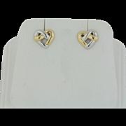 14kt Two Tone Yellow/White Gold Heart Stud Earrings