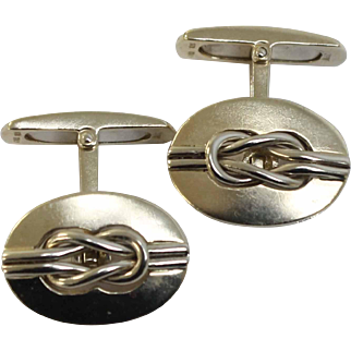 Men's Oval Cufflinks in 14K Yellow & White Gold with Nautical Knot - AGSC, Italy, Hallmark