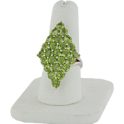 Sterling Silver Statement Ring with 25 Round Green Stones - Size 8
