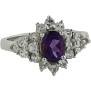 Sterling Silver Oval Purple Stone Ring with CZ Cluster - Size 8