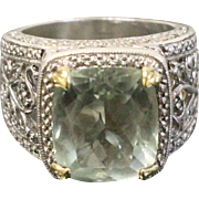 Sterling Silver & Pale Green Faceted Crystal Cocktail Ring - 925 Hallmark - Size 8