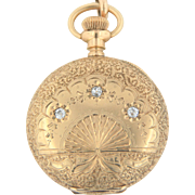"Antique American Waltham-Royal Movt 14K Gold Full Hunter Pocket Watch w/Mine Cut Diamonds & 48"" Slider Chain"