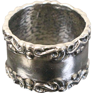 Sweet Sterling Silver Spoon Ring - Simple Band w/Scrolled Edges - Size 5.5