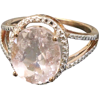 Sweet Oval Pink Crystal & Rose Vermel Sterling Silver Ring - JS 925 Hallmark - Size 7