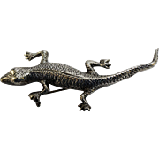 "Unique & Detailed Salamander or Gecko Lizard 3"" Sterling Silver Pin - MM, 925 Hallmark"