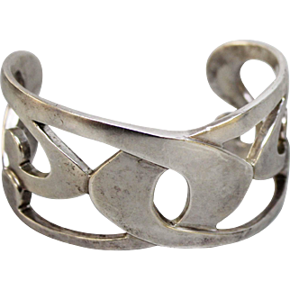 Big & Heavy Sterling Silver Matte Finish Modernist Openwork Cuff Bracelet - Artisan Signed