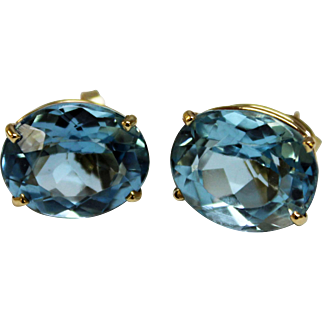 Big & Bold 14K Yellow Gold and Oval Faceted Blue Topaz Pierced Stud Earrings