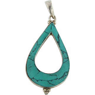 Sterling Silver and Turquoise Teardrop Shaped Pendant