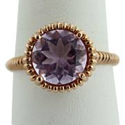 Sweet 10K Rose Gold & Round Solitaire Purple Amethyst (4ct) Ring in Size 8
