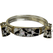 Vintage 1980's Bagley Hotchkiss Sterling Silver/18K/Platinum/Black Onyx/Mother of Pearl Bracelet & Pierced Earring Set