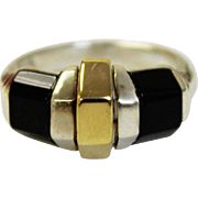 Cartier Women's Sterling Silver - 18K Yellow Gold - Black Onyx Geometric Dome Designed Ring in Size 5
