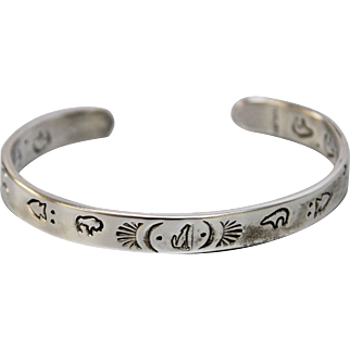 Vintage Cathy Hatathlie Native American Story Teller Sterling Silver Cuff Bracelet with Fish-Bear-Buffalo-Wolf