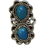 Unsigned Native American Sterling Silver & Cabochon Turquoise Ring - Size 5.5