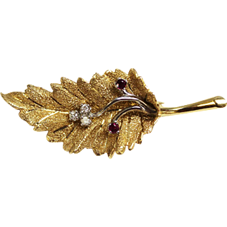 Nicely Detailed/Vintage 14K Yellow & White Gold Leaf Pin with Rubies & Diamonds