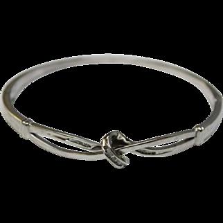"Sterling Silver 8"" Bangle Bracelet w/Baguette Diamond Knot-NH Hallmark"